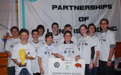 Pictured is Berner Middle School's Team Elite 1337 of Massapequa, NY. They stand victorious as the champions of the SBPLI-LI FIRST LEGO League Tournament in 2008.